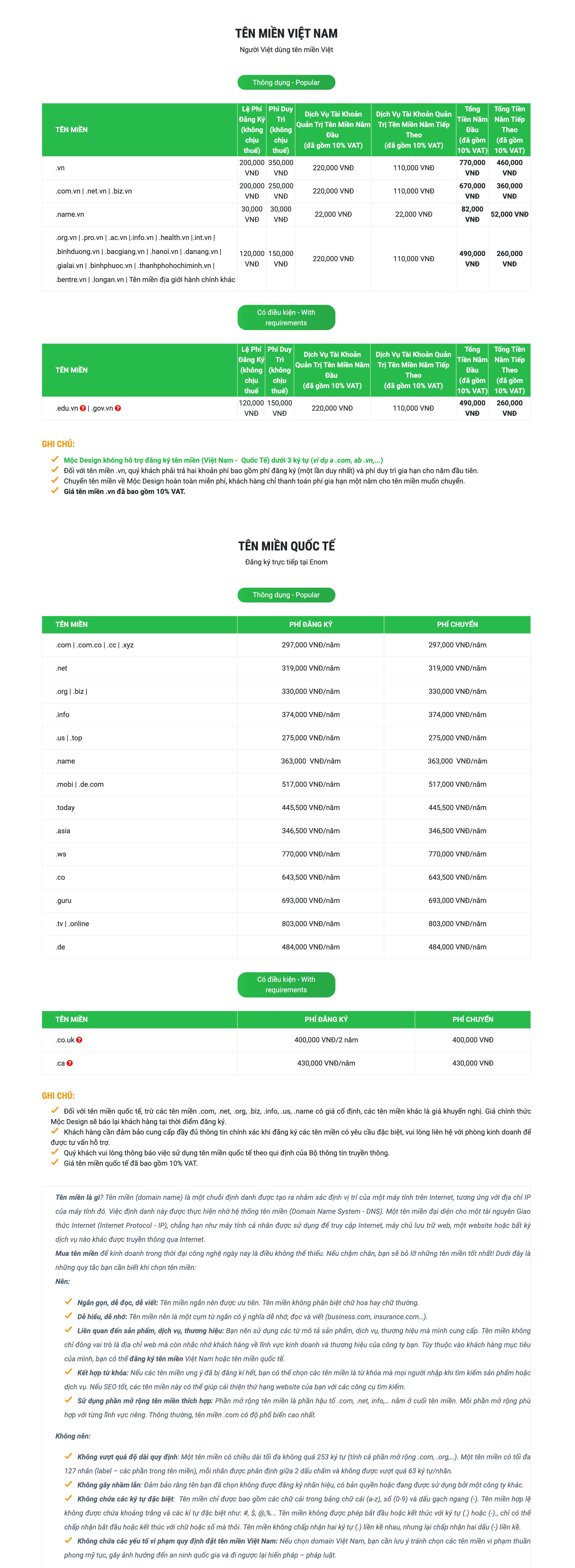 Bảng Giá Tên Miền 1